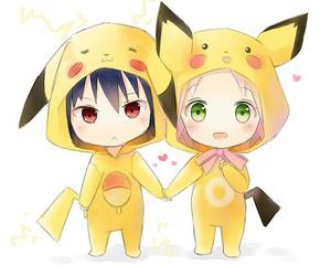 naruto, pikachu, and sakura image