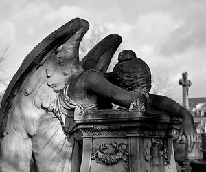 angel, cemetery, and black and white image
