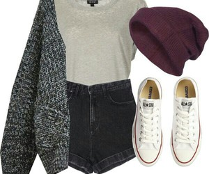 beanie, outfit, and school outfit image