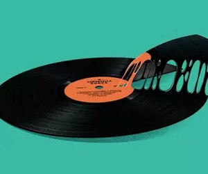 pizza, music, and vinyl image
