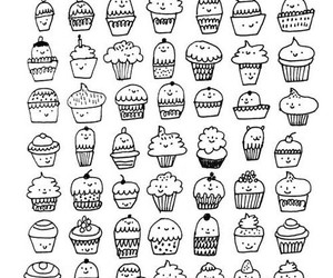 black&white, cupcake, and muffin image