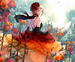 anime, flowers, and garden image