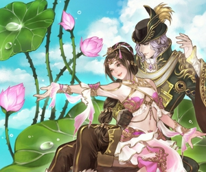 anime, couple, and flowers image