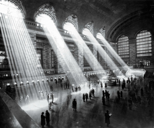 black and white, light, and new york image