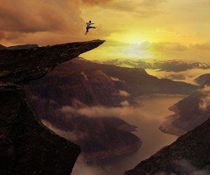 mountains, jump, and nature image
