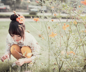 flowers, girl, and korea image