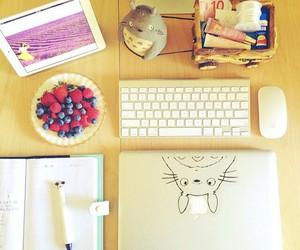 blueberries, desk, and macbook image