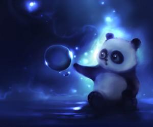 panda, blue, and bubbles image