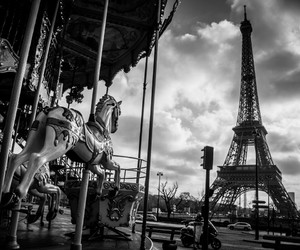 clouds, la tour eiffel, and paris image