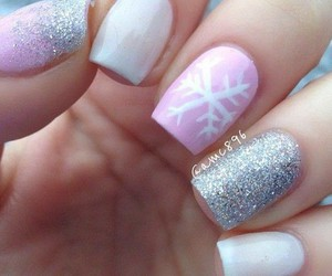 snowflake, glitter, and pink image