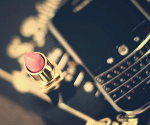 lipstick, blackberry, and phone image