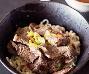 thai food, ramen noodles, and thai beef with noodles image