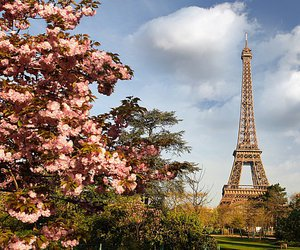 clouds, eiffel tower, and flowers image