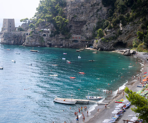 Amalfi, beach, and boats image