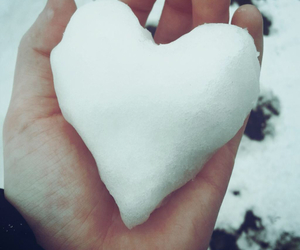 heart, snow, and hand image