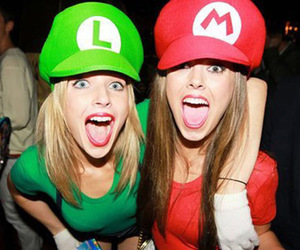 girl, mario, and friends image