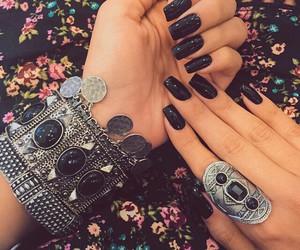 black, nails, and bracelet image