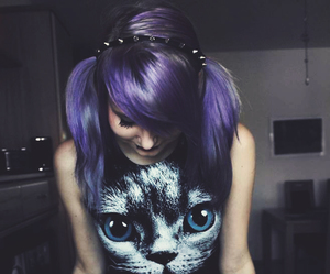 girl, cat, and purple hair image