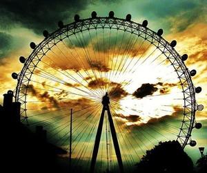 photography, sunset, and ferris wheel image
