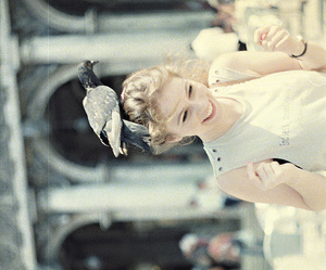 bird, girl, and vintage image