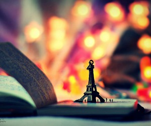 book, lights, and eiffeltower image