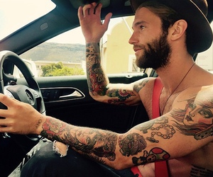 boy, tattoo, and car image