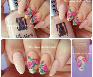 nail art, roses, and valentines day image