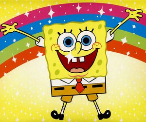 rainbow, spongebob, and yellow image
