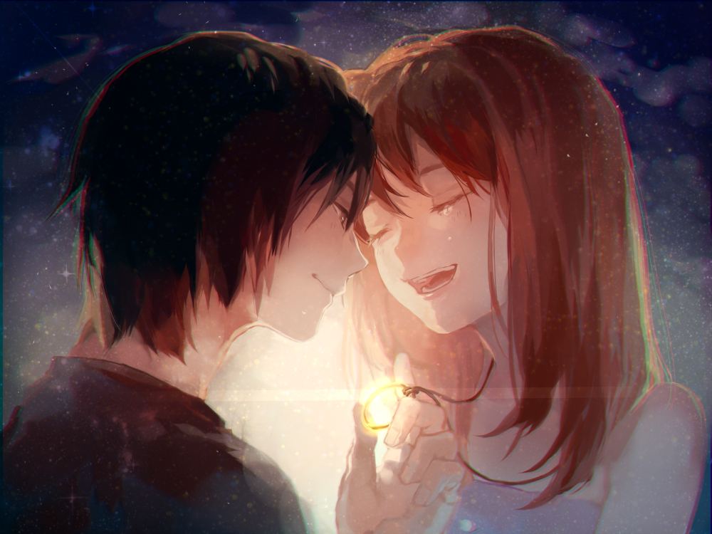 anime, couple, and glow image