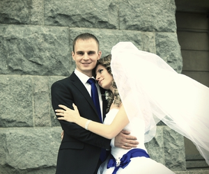 blue, bride, and fall image