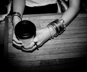 black and white, ring, and coffee image