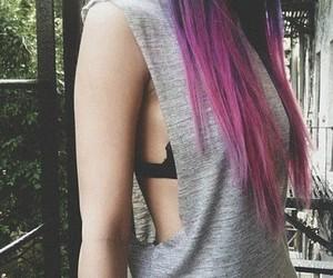 hair, girl, and pink image