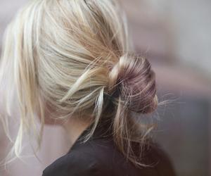 hair, blonde, and bun image