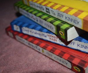 books, diary of a wimpy kid, and colourful image