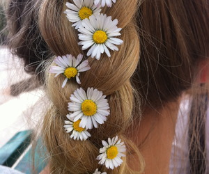 braid, flowers, and girl image