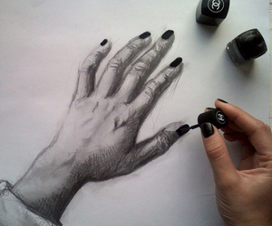 drawing, painting, and hand image