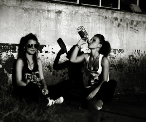 girl, alcohol, and black and white image