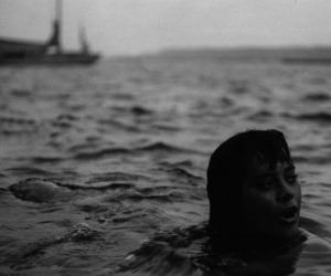 knife, lake, and black image
