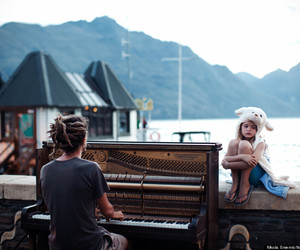 piano, music, and sea image