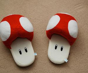 slippers, mushroom, and mario image