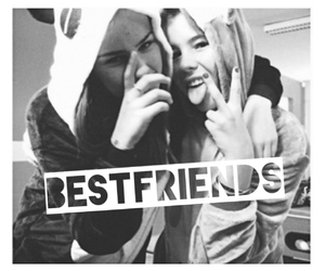 besties, black and white, and fun image
