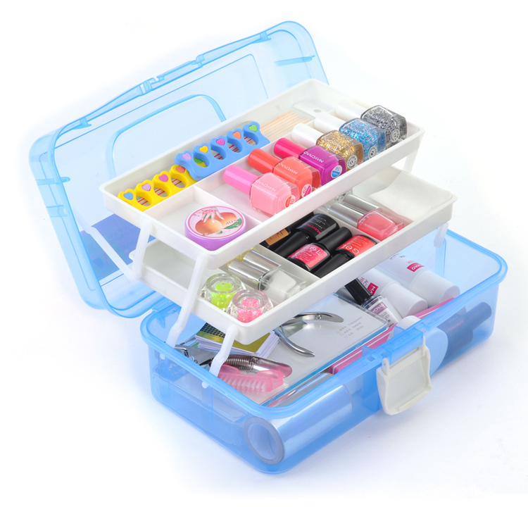 Fashion Nail Art Box Storage For Girl With Blue Plastic