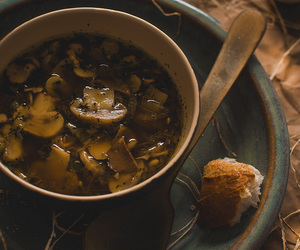 food, mushroom, and soup image