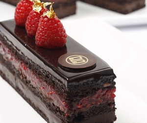 cake, chocolate, and raspberry image