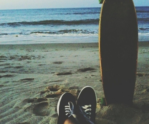 beach, skate, and vans image