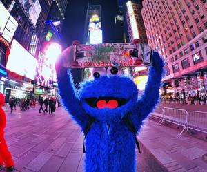 city, cookie monster, and elmo image