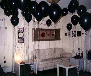 black, grunge, and balloons image