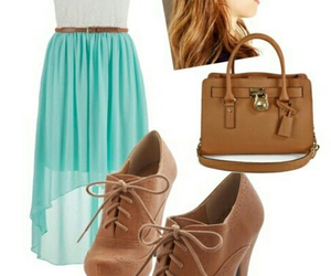 dress, purse, and teal image