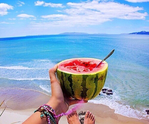 beach, delicious, and watermelon image