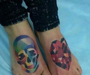 heart tattoo, skull tattoo, and foot tattoo image